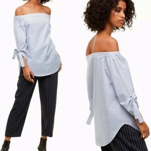 Aritzia Babaton Malik Off Shoulder Pin Striped Top